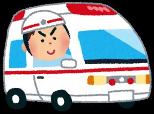 かわいい救急車と、救急隊員のイラスト