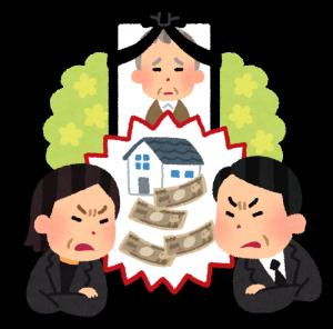 遺族の財産(遺産相続・遺産分割)を巡って、兄弟や親戚同士で喧嘩をしている様子を描いたイラスト